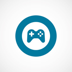 joystick bold blue border circle icon.