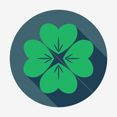 Four-leaf clover vector illustration. St. Patrick's Day symbol.