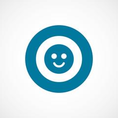 smile bold blue border circle icon.