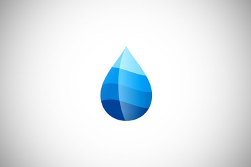 water drop abstract blue vector logo