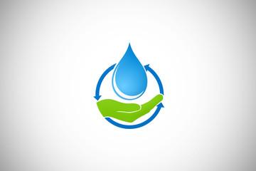 water drop hand human ecology vector logo