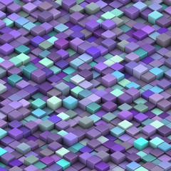 blue purple beveled cubes in 3d