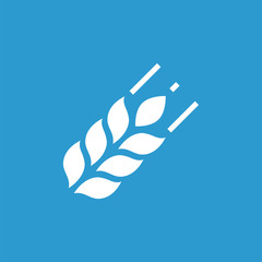 Agriculture icon, white on the blue background .