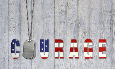 military dog tags for courage on wood