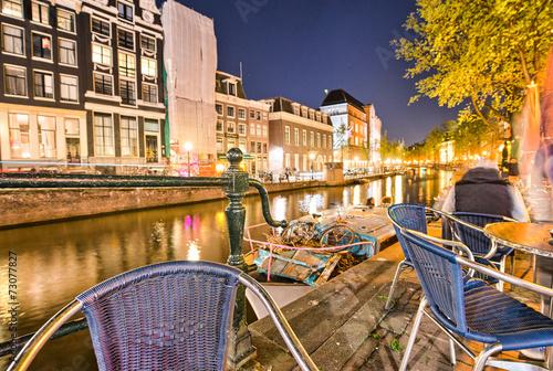 Foto op Aluminium Scandinavië Canals of Amsterdam, beautiful night view