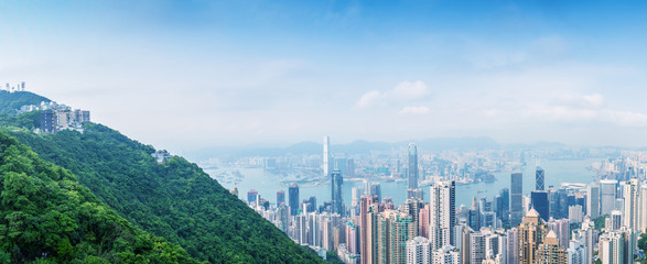 HONG KONG - MAY 10, 2014: Hong Kong cityscape, aerial view. The