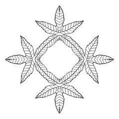 Plant leaves frame, vector illustration