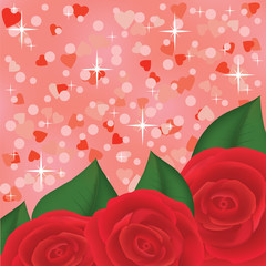 red roses on pink shiny background with hearts