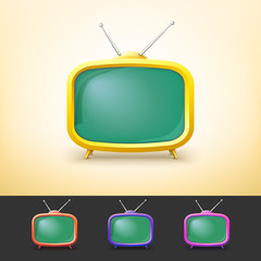 Color TV set in cartoon style.