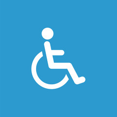 cripple icon, white on the blue background .