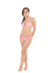 Attractive girl in bikini. All on white background.
