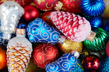 Christmas balls pile