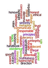 Ethics in words background