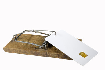 Empty credit card in mousetrap
