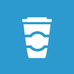coffee icon, white on the blue background .