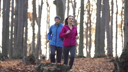 Young couple jogging in autumn forest