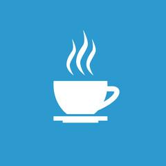 cap of tea icon, white on the blue background .