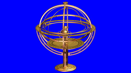 Armillary Sphere On Blue Background