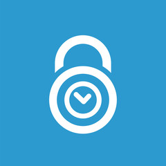 time lock icon, white on the blue background .