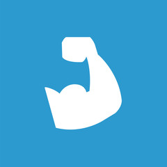 muscle arm icon, white on the blue background .