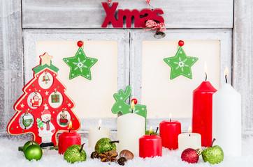 weihnachtsdeko mit rot und grün