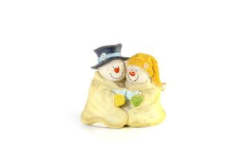 couple smiling snow man