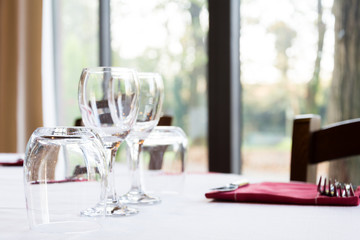 Wineglass on a setting table