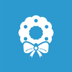 Christmas wreath icon, white on the blue background .