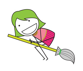 girl broom