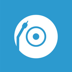 Vinyl turntable icon, white on the blue background .