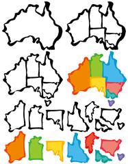 オーストラリア 筆で書いた地図 州