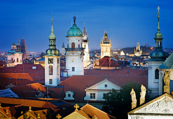 Aerial view over Old Town in Prague at night, Czech Republic
