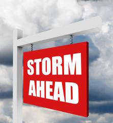 Storm ahead warning sign on dark sky