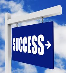 Success sign on blue sky