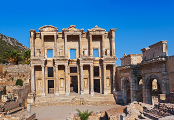 Ancient Celsius Library in Ephesus Turkey