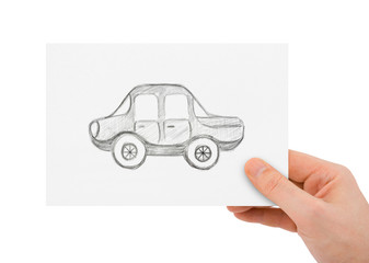 Hand with drawing car