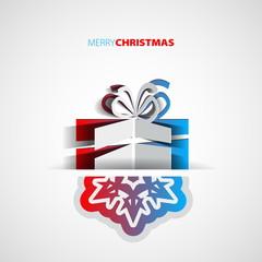 Papercut Christmas gift box, Simple card for christmas, vector