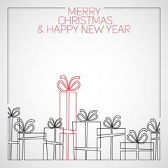 Vector simple line drawing christmas card. christmas presents, g