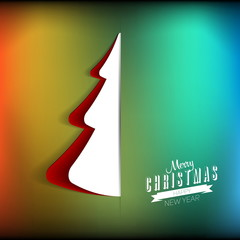 Creative paper Christmas tree. Vector Illustration, gift card on