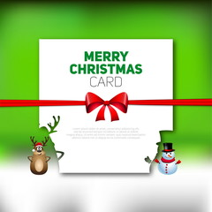 Merry Christmas greeting card with reindeer and snowman, vector