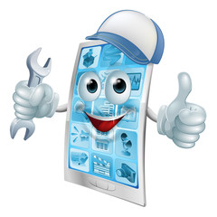 Phone repair cartoon character