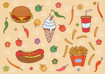 Funny and Cute Fast Food set