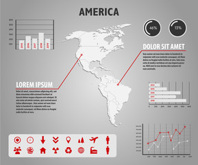 Map of America - infographic illustration with charts and icons