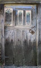 Entire old wooden door and lock