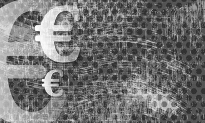 transparent euro symbol and scratched background