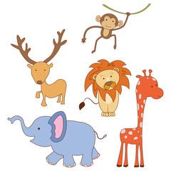 Set of Doodle Animal Safari