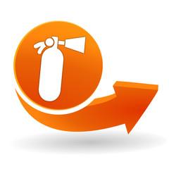 extincteur sur bouton web orange