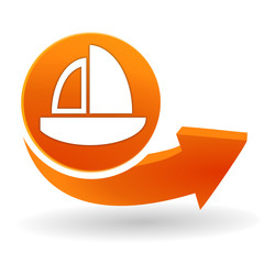 voilier sur bouton web orange