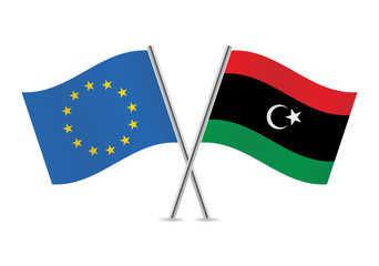 Libyan and European Union flags. Vector illustration.