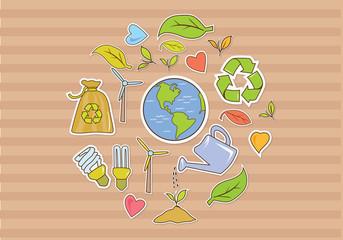 Banner Funny Illustration Eco Green